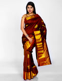 Brown pure khadi silk saree