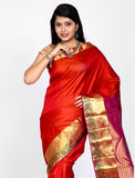 Amaranth Red Colored Khadi Silk Saree