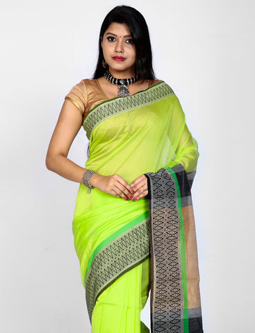 Bright Android Green Maheswari Silk Saree