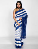 White with Blue Handwoven Single Ikkat cotton Saree