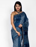Indigo Chanderi Silk Saree with Zari Border