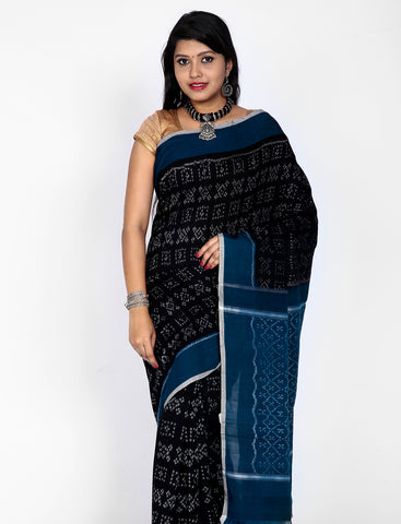 Combination of Black and Blue Handwoven Single Ikkat cotton Saree