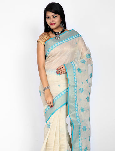 Off-white with Blue kota cottonsilk saree with chikankari work
