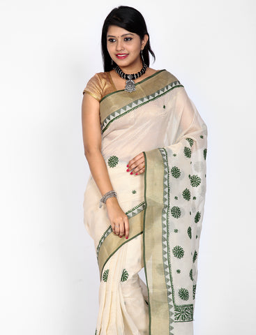 Off-white with Green kota cottonsilk saree with chikankari work
