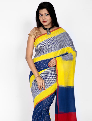 Tricolored Handwoven Double Ikkat cotton Saree