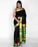 Handwoven Black Khadi Silk Saree