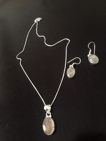 Silver toned Drop Pendant set with White Cut stone & ear rings