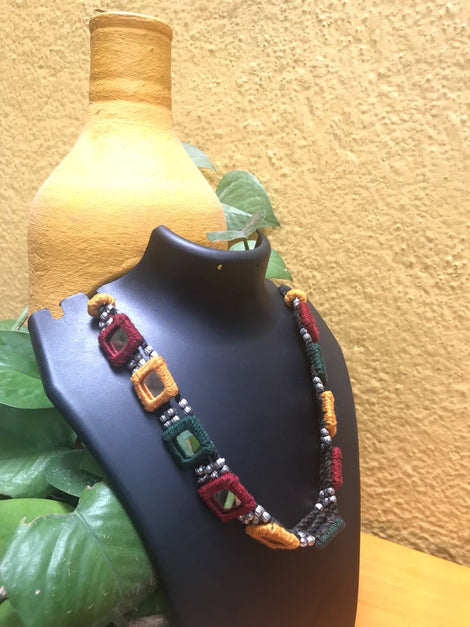 Multicolor Thread with Mirror Work Neckpiece