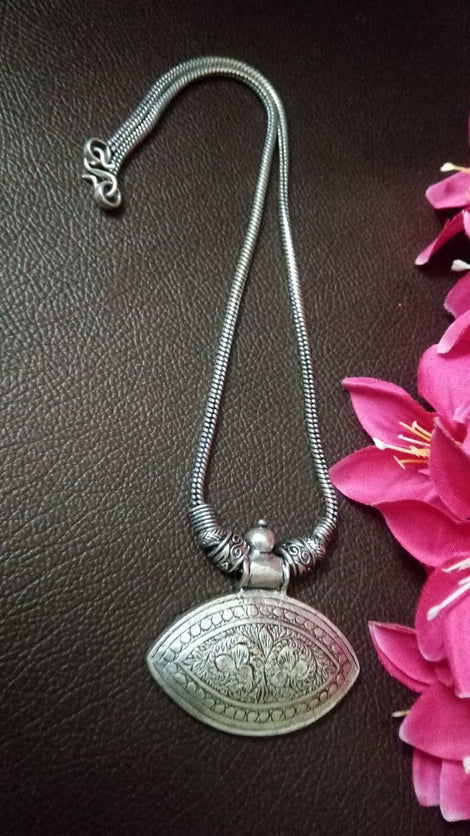 Designed Oval German Silver Oxidised Metal Pendant Neckpiece