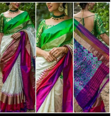 Off-White Ikkat Silk Saree