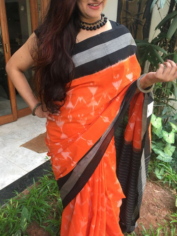 Orange with Black Border Ikkat Cotton Saree