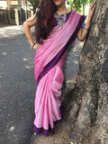 Peach With Violet Border Narayanpet Cotton Saree