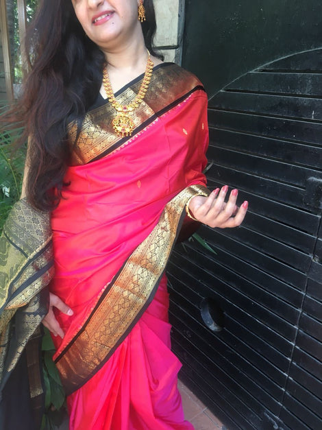 Pink with Black Border Maharashtra Silk Saree