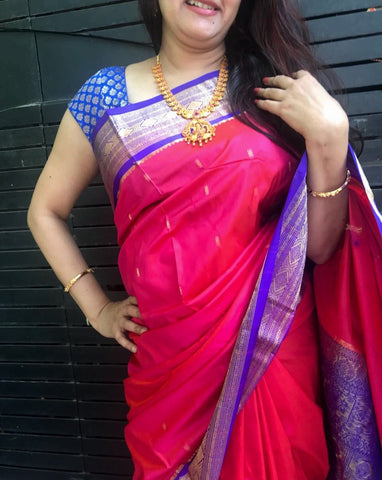 Pink with Blue Border Maharashtra Silk Saree