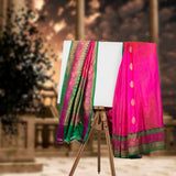 Pink with Green Banaras Silk Saree