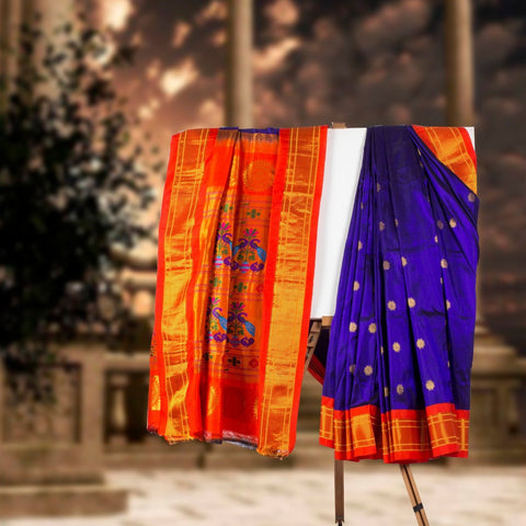 Navy Blue Paithani Silk Saree