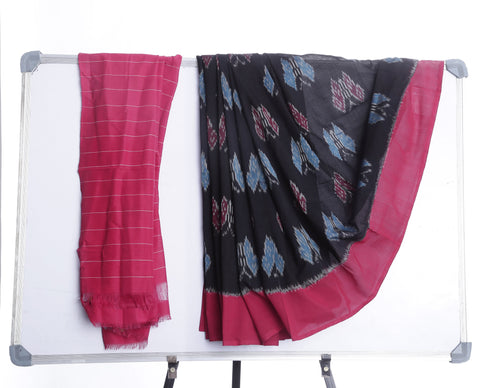 Black with Red Ikkat Cotton Saree