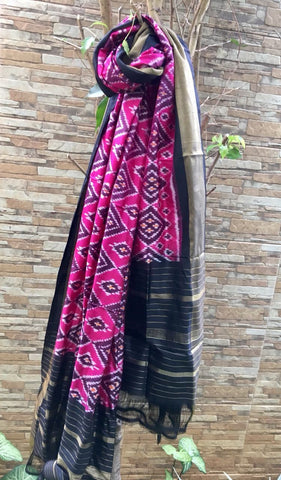 Pink with Black Pure Ikkat silk Dupatta
