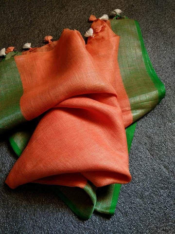 Orange with Green Dupatta