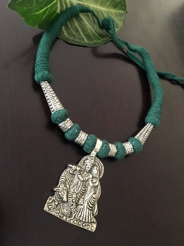 Radhakrishna Pendant with Sea Green Thread work Neckpiece