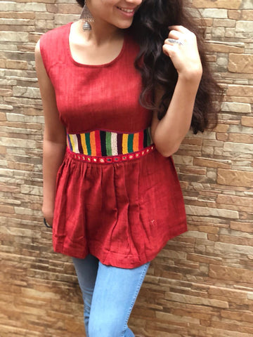 Red Khadi Cotton Top with Multicolor Patch work & Mirror work