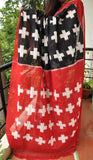 Black with Red Handwoven Double Ikkat cotton Saree