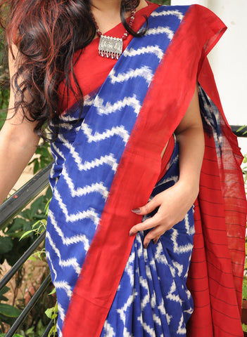 Blue with red Handwoven Double Ikkat cotton Saree