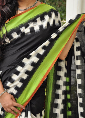 Black with green Handwoven Double Ikkat cotton Saree