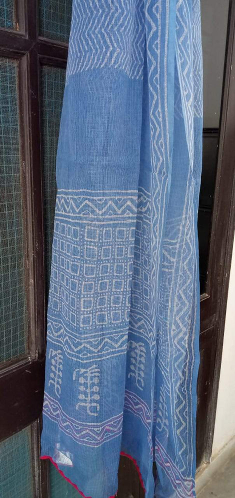 Blue and White Kota Doria Block Printed Cotton Dupatta