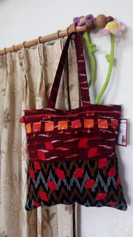 Brown and Black Handmade Ikkat Jhola Bag
