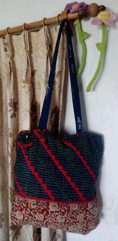 Blue and Maroon Handmade Ikkat Jhola Bag