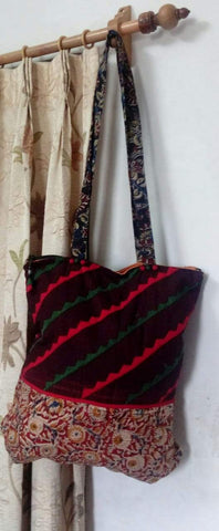 Brown and Maroon Handmade Ikkat Jhola Bag