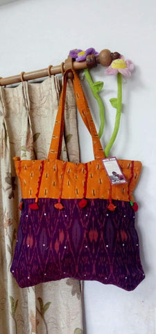 Mustard and Wine Handmade Ikkat Jhola Bag