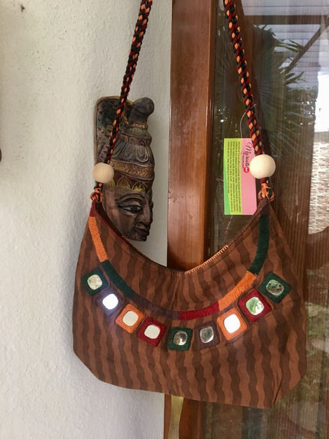 Brown Striped Cotton Hand Bag With Mirror work