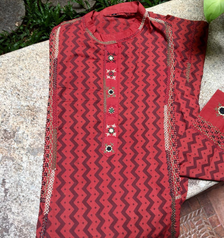 Brick Red color handloom Ilkal Kurti