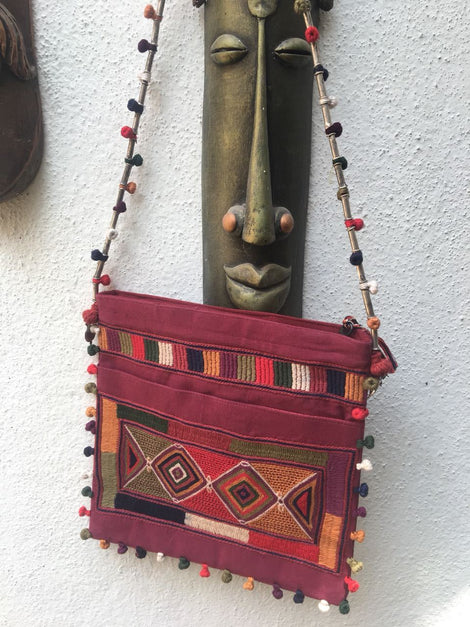 Maroon Embroidery Sling Bag