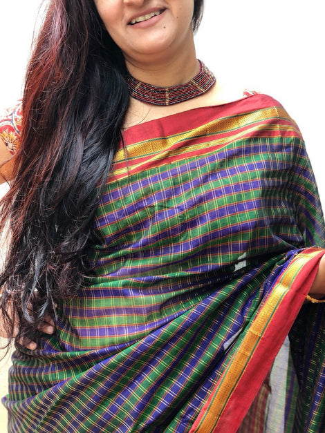 Green with Purple checks ilkal saree