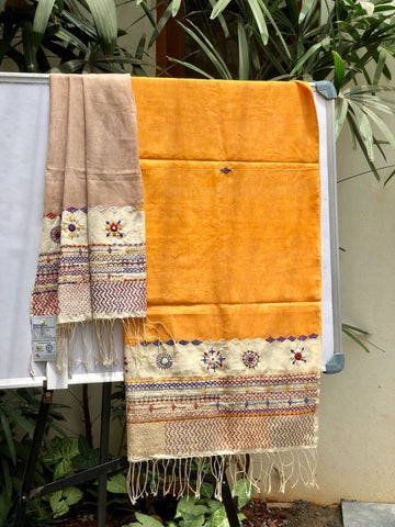 Light brown and mustard embroidered Cotton Dupatta