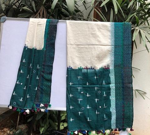 White with dark green embroidered Ikat cotton Dupatta
