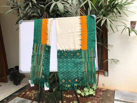 White with green embroidered Ikat cotton Dupatta