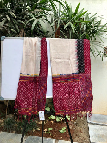 White with dark maroon embroidered Ikat cotton Dupatta
