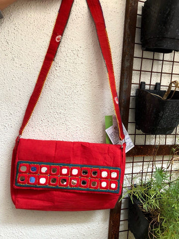 Red color Hand Embroidered Bag