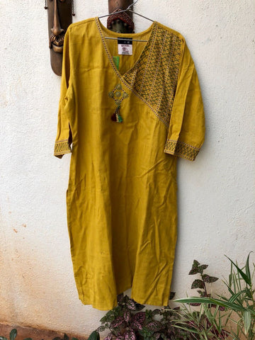 Mustard Color one side embroidered Kurta