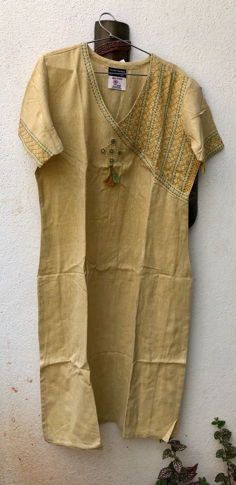 Cream Color one side embroidered Kurta