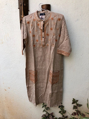 Light Orangish Grey thread work kurta