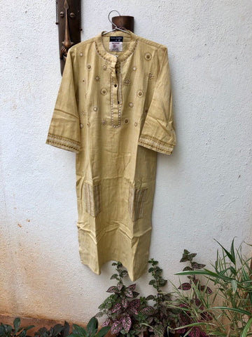 Light Yellow thread work kurta