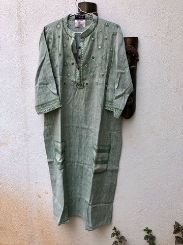 Light Green thread work kurta