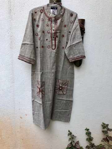 Grey thread work kurta