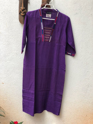 Purple thread work kurta