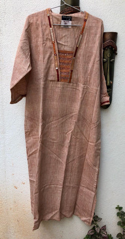 Reddish Grey thread work kurta